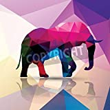 Artzloom Geometric Polygonal Elephant Pattern Design Canvas Art Print With Frame - Size 20.5 Inch X 20.5 Inch