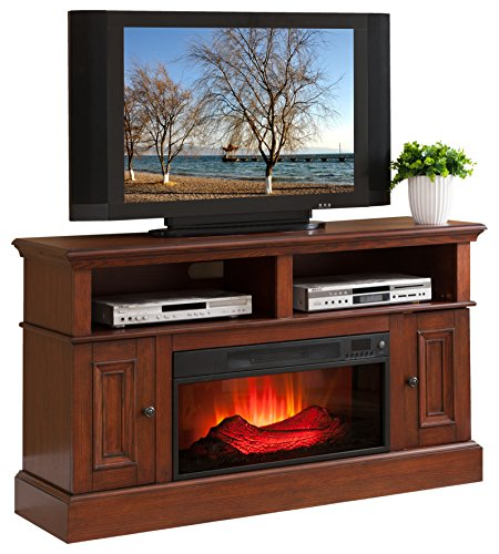 Convenience Concepts Lincoln Tv Stand With Fireplace Oak Finish Home Garden Fireplaces Indoor