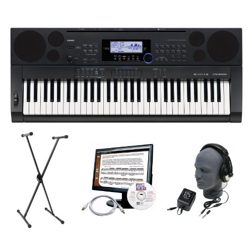 Casio CTK-6000 61-Key Portable Premium Keyboard Package with Headphones, Stand, Power Supply, 6-Feet USB Cable and eMedia Instructional Software