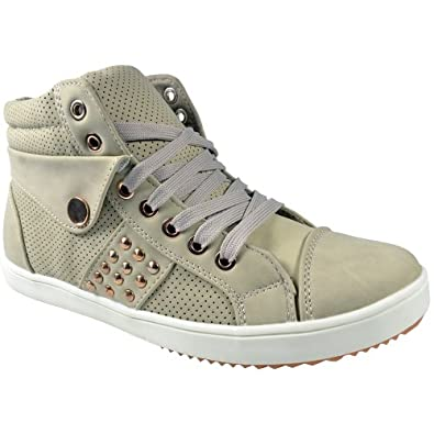 LADIES WHITE, BLACK HI TOP STUDDED ANKLE BOOT WOMENS TRAINERS SHOES SIZE UK 3-8 (UK 3 / EU 36, Biege)