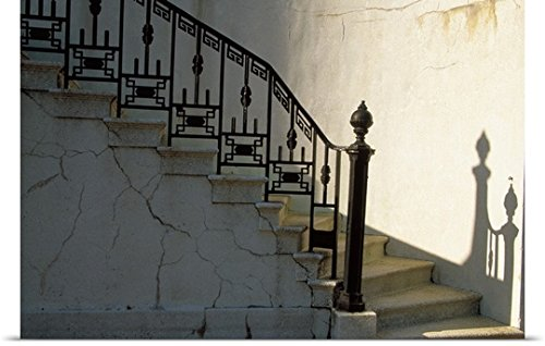 Julie Eggers Poster Print entitled Wrought iron railing and steps with shadow detail (Wrought Iron Railing For Steps compare prices)