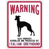 WARNING PATROLLED AND PROTECTED ITALIAN GREYHOUND マグネットサイン:イタリアングレイハウンド(スモール) 警告 資産 警戒 保護 英語 アメリカン カーマグネット マグネットステッカー
