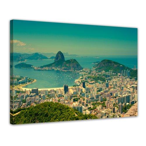 Bilderdepot24 Leinwandbild Rio De Janeiro - Berg Corcovado - 70x50 cm 1 teilig - fertig gerahmt, direkt vom Hersteller