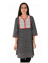 Dorabella Black Cotton Printed Kurti - B00R12M4B8