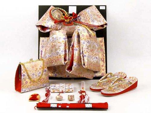 七五三着物 7歳 女の子 金襴の結び帯(大寸)と箱セコペアセット【白系】 DPS101