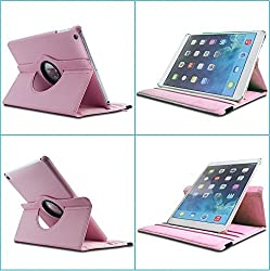 TGK 360 Degree Rotating Leather Case Cover Stand For iPad 4, iPad 3, iPad 2 - Baby Pink