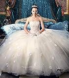 JP0837  ウェディングドレス ロング丈 花嫁ドレス 豪華 刺繍 フリル 礼服 結婚式 披露宴 レディース  3714092803 (XL, ホワイト)