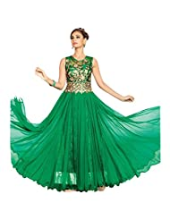 Green Net Designer Party Wear Anarkali Suit Semi Stitched