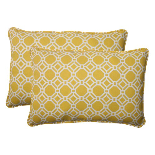 Pillow Perfect Indoor/Outdoor Rossmere Corded Oversized Rectangular Throw Pillow, Yellow, Set of 2 pillow 113548