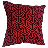 "That's Perfect! Geometric Luxury Fabric 18""x18"" Decorative Throw Pillow Sham - COVER (Red and Black)"