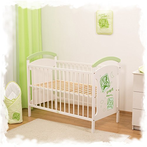 BABY COT WOODEN TEDDY BEAR COLLECTIONS 120x60CM.(Green Taddy Bears)