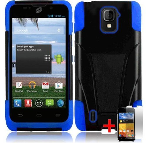 Zte Majesty Z796C Black Blue Hybrid T Kickstand Cover Hard Gel Case + Free Screen Protector From [Accessory Arena]