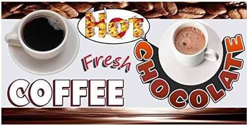 FRESH HOT COFFEE AND HOT CHOCOLATE DRINK BANNER 2' X 4' VINYL HORIZONTAL
