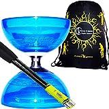 Diabolo Set Cyclone Quartz (Blau) Freiläufer (mit kugellager) Dreifache Lagerung Kombi-Set mit Diablo CARBON-Handstäbe u