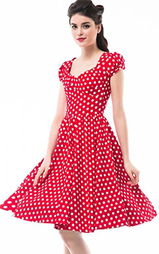 Betty-Rose-Womens-Vintage-Style-Polka-Dot-Cap-Sleeve-Flare-Dressessize-2-18