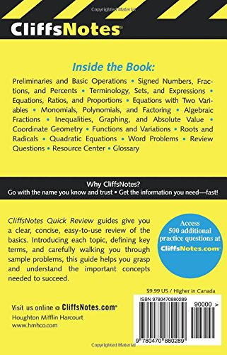 CliffsNotes Algebra I Quick Review (Cliffs Quick Review (Paperback))