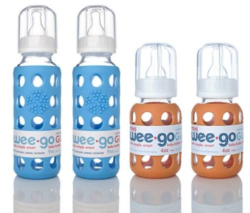 Lifefactory Bpa-free Glass Baby Bottles w/ Silicone Sleeve, 9oz Orange and 4 Oz Sky Blue-4 Pack
