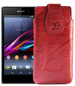 Original Suncase Tasche für / Sony Xperia Z1 Compact / Leder Etui Handytasche Ledertasche Schutzhülle Case Hülle / in wash-rot