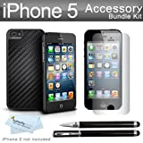 iPhone 5 Carbon Fiber Snap Case Kit Includes Photive CEO Carbon Fiber Snap Case + 3 Pack Ultra Clear Film Screen protectors + Ultra-Sensitive 2 in 1 Capacitive Stylus with Integrated Ballpoint Pen + More