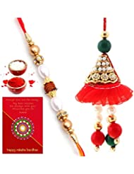 Ethnic Rakhi Fashionable And Stylish Rajasthani Multi-Color Floral Pattern Bhaiya Bhabhi Mauli Thread And Beads...