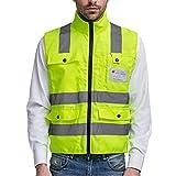 Panegy - Gilet de sécurité haute visibilité-Veste Col Officier Réfléchissante-bandes avec Poches pour Chantier/Construction/Travail à l'extérieur - jaune - Taille XL