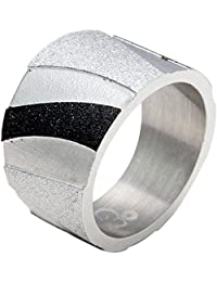 Sparkling Drop Exclusive Designer Rhodium Finish Stainless Steel Sparkling Zebra Textured Band Ring SDC095R046