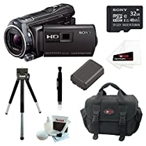 Sony HDR-PJ810/B HDRPJ810B Full HD 60p/24p Camcorder w/ advanced Manual Controls + Sony 32GB MicroSD Card + Replacement NP-FV50 Battery for Sony + Accessory Kit