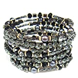 Heirloom Finds Breathtaking Crystal and Faux Pearl Coil Wrap Bracelet in Hematite Black and Gold