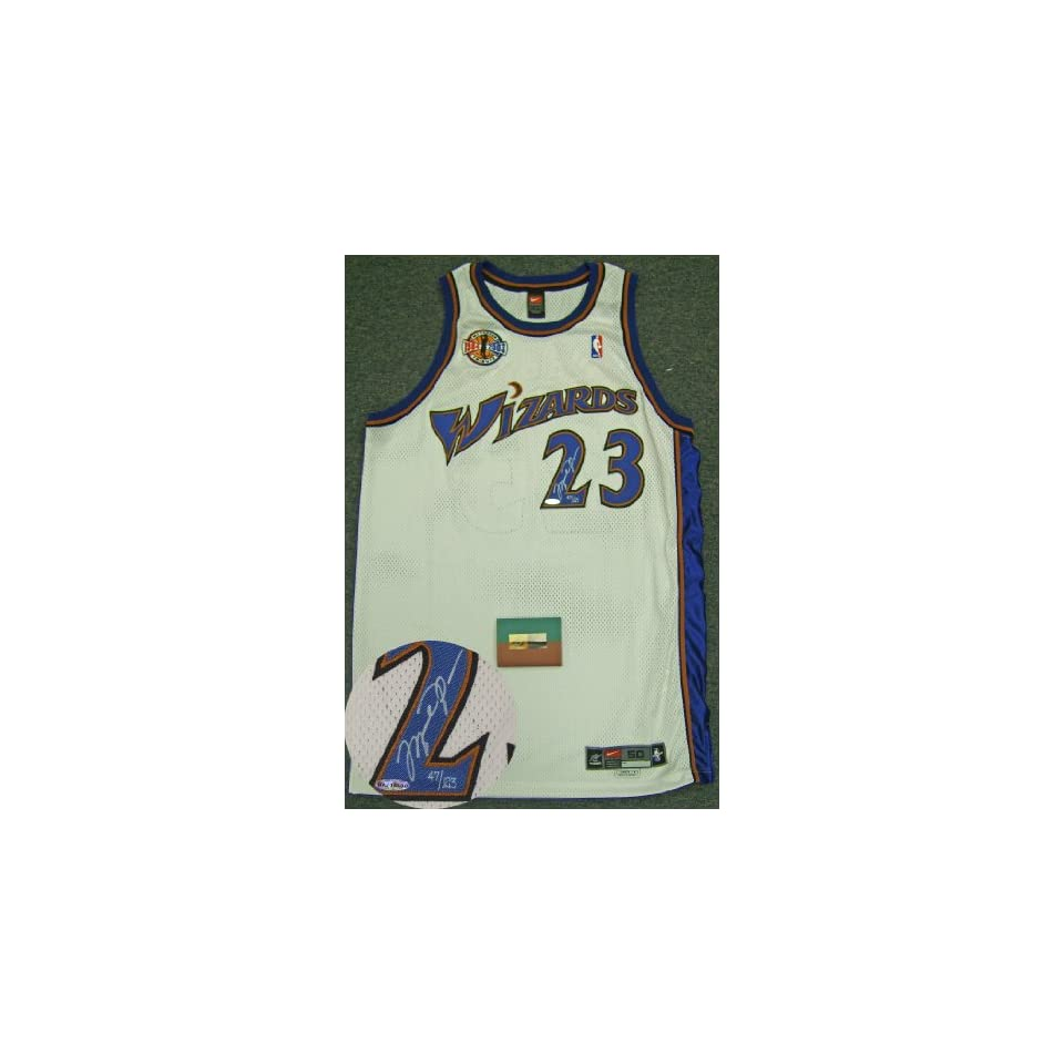 official photos 04b21 015df Michael Jordan Signed Wizards Career Tribute Jersey LE123 ...