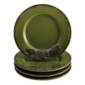 Paula Deen Signature Dinnerware Southern Pine Collection 4-Piece Salad Plate Set, Green