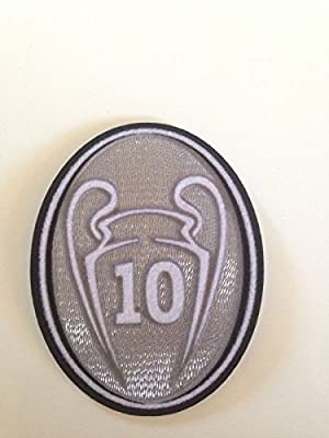 Uefa Champion League Respect and Trophy 10 Black and 2014 Badge Patch Iron on Soccer Jersey for Real Madrid