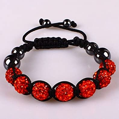 10mm Red Crystals Macrame 7pcs Beaded Shamballa Ball Adjustable Bracelet