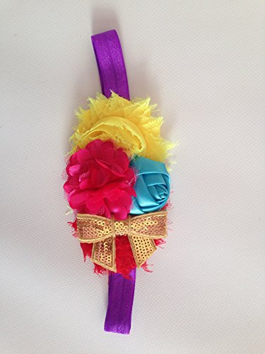 Baby Girl Fashion Fabric Elastic Headband Hairband Headband Queen (Yellow-pink #6) - 1