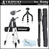 Triple Tripod Accessory Bundle Kit For Sony DEV-3, Sony DEV-5 Digital Recording Binoculars Includes 67 Inch Pro Tripod w/ Case + 67 Inch Monopod w/ Case + 10