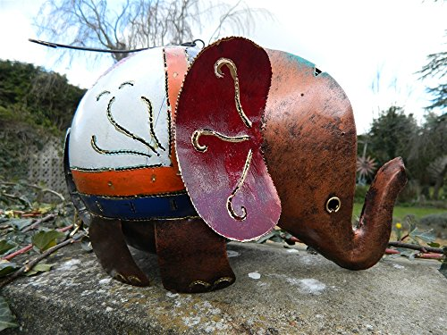Elephant Tea Light Holder Metal Elephant Garden Lantern XL Copper Elephant 30cm Tealight