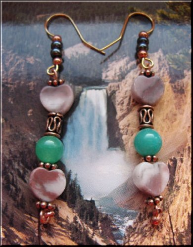 Solid Copper Handcrafted Beaded Dangle Earrings 03