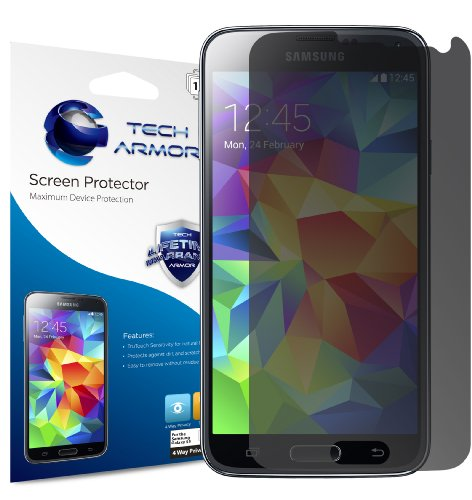 Tech Armor Samsung Galaxy S5 High Defintion (HD) Clear Screen Protectors -- Maximum Clarity and Touchscreen Accuracy [3-Pack] Lifetime Warranty by Tech Armor