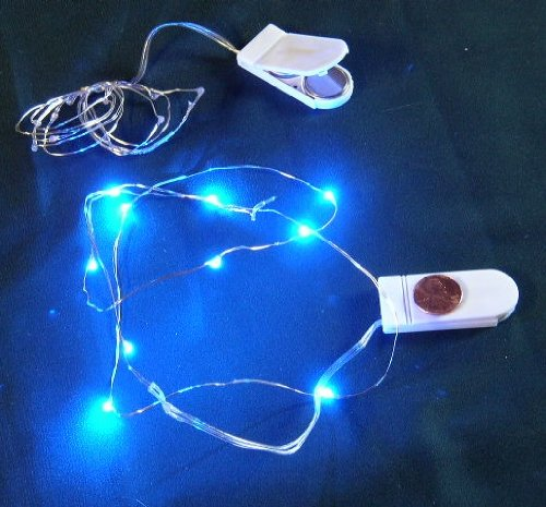 Micro LED BLUE Lights on Ultra Thin Wire- Battery- 3 Sets-10 ...