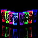 Toy - 8 x 10ml UV-Bodypaint K�rpermalfarben Schwarzlicht fluoreszierende Schminke Bodypainting Neon Farben Leuchtfarben