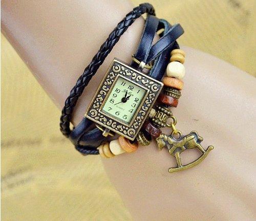 Kano Bak(Tm) Fashion Weave Wrap Around Press Button Leather Retro Bracelet Woman Girl Unisex Horse Pendant Wrist Gift Watch