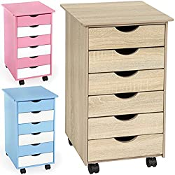 TecTake Rollcontainer mit 6 Schubladen -diverse Farben- (Eiche | Nr. 401788)