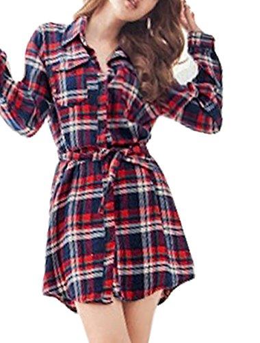 Lady Long Sleeve Pockets Front Plaids Shirt Dress w Belt Burgundy S
