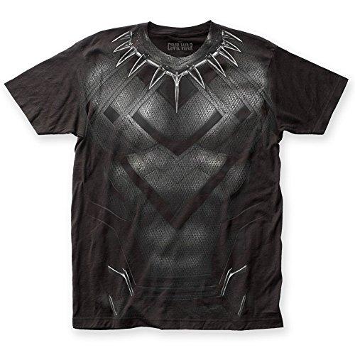 Captain America - Mens Civil War Black Panther CW Suit Big Print T-Shirt, Size: Large, Color: Black