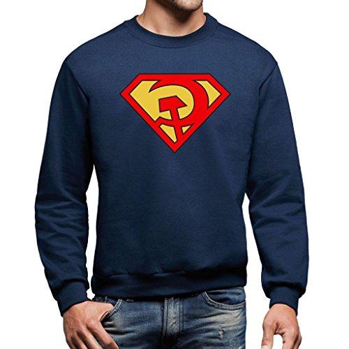 Felpa girocollo SUPERMAN COMUNISTA - POLITIC by MUSH Dress Your Style - Uomo-XXL-BLU NAVY
