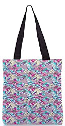 Snoogg Flower Pattern Poly Canvas Tote Bag
