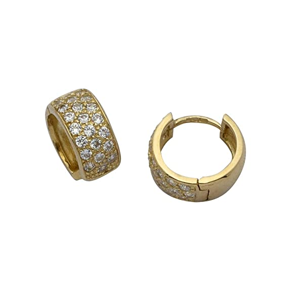 Adara 9 ct Gold Small Three-Row Cubic Zirconia Huggie Earrings