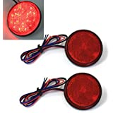 ZHOL® Red 24 LED Round Reflectors Tail Brake Stop Marker Light Truck Trailer RV ATV Motorcycle