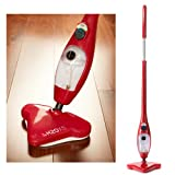 H2O H20 Mop X5 5 in 1 Portable Steam Mop Multi Purpose Floor & Window Cleaner Carpet Steamer Garment Upholstery Oven Hob Steamer Upright & Hand Held Steamer Steam Jet (Red)