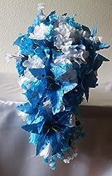 Malibu Blue Cascading Bridal Wedding Bouquet & Boutonniere