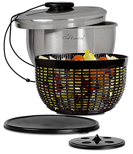 Chef Essential Stainless Steel Salad Spinner with Non-Slip Serving